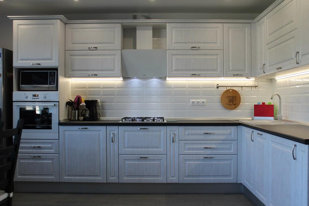 Белый кухонный гарнитур-Кухня МДФ в ПВХ «Модель 231»-фото5