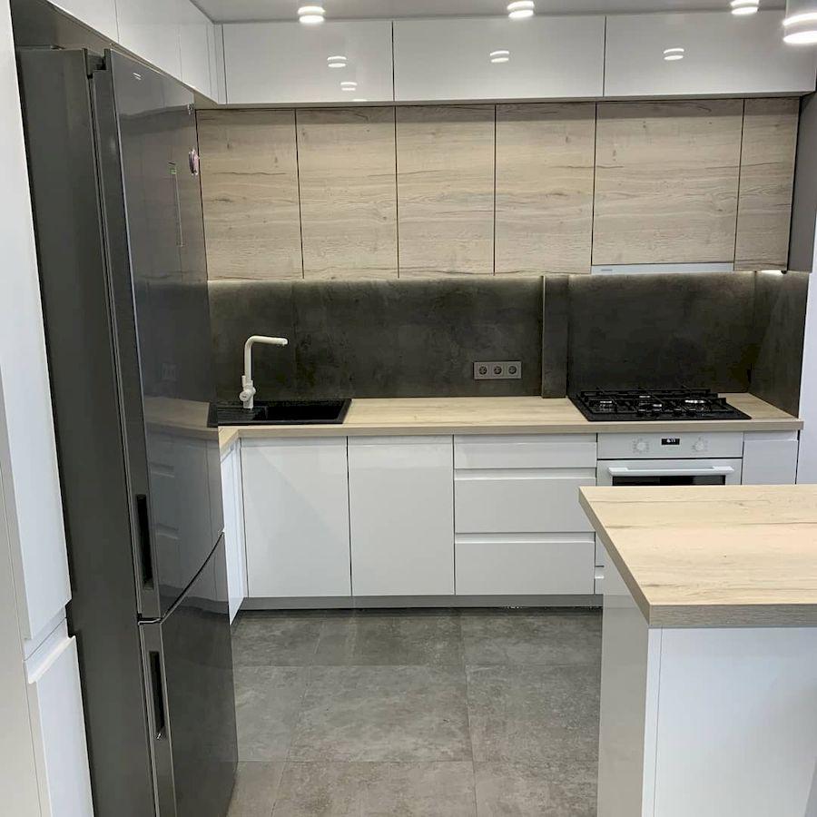 Белый кухонный гарнитур-Кухня МДФ в эмали «Модель 670»-фото2