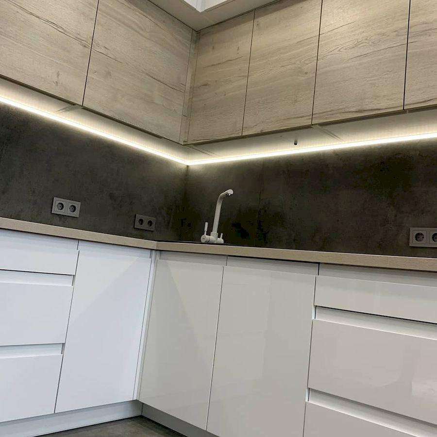 Белый кухонный гарнитур-Кухня МДФ в эмали «Модель 670»-фото4