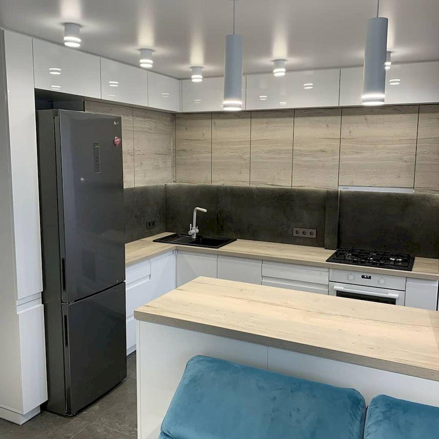 Белый кухонный гарнитур-Кухня МДФ в эмали «Модель 670»-фото1
