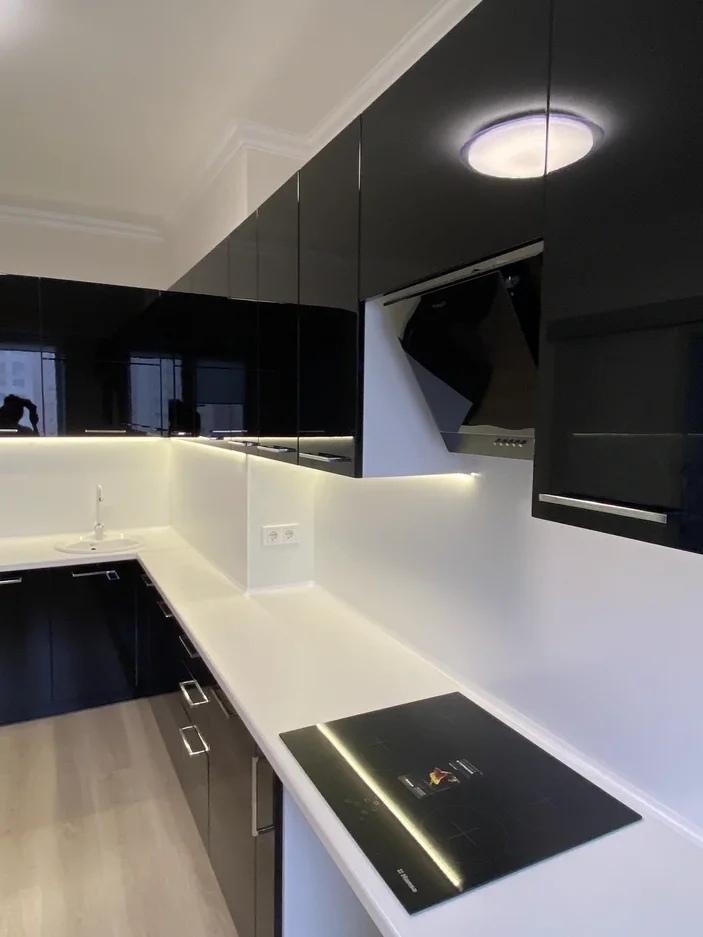 Глянцевые кухни-Кухня МДФ в ПВХ «Модель 569»-фото3